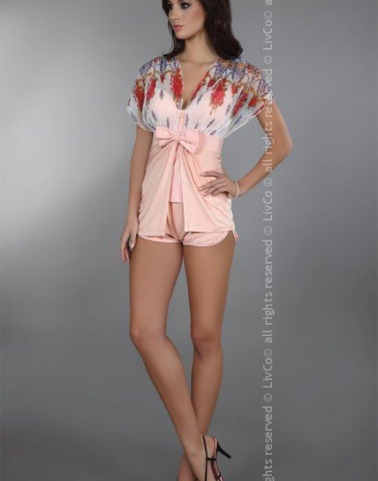 Секси къс халат в прасковен цвят Imperia, LivCo Corsetti Fashion, Секси Халати - Modavel.com