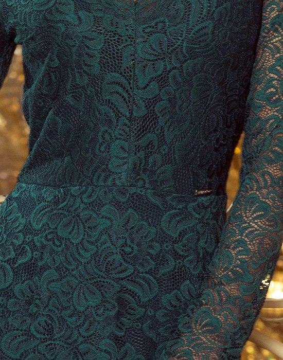 Официална дантелена миди рокля в зелено 170-3, Numoco, Миди рокли - Modavel.com