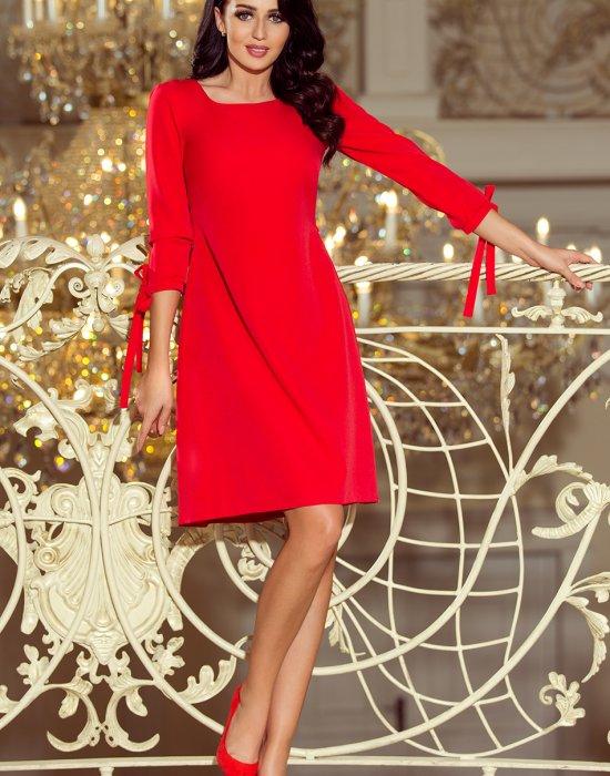 Елегантна миди рокля с връзки на ръкавите 195-4, Numoco, Миди рокли - Modavel.com