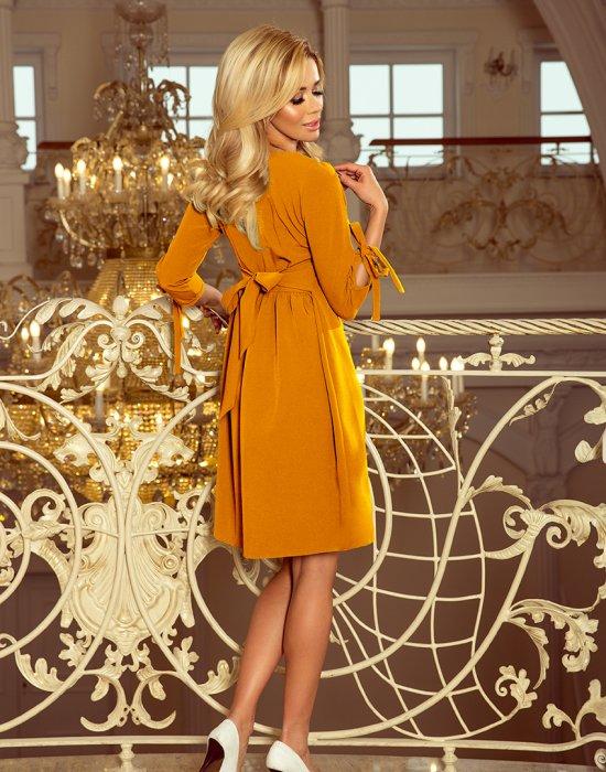 Елегантна миди рокля с връзки на ръкавите 195-6, Numoco, Миди рокли - Modavel.com