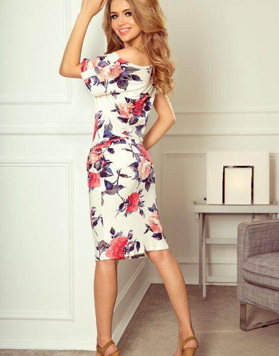 Спортно-елегантна рокля на цветя 203-1, Numoco, Миди рокли - Modavel.com