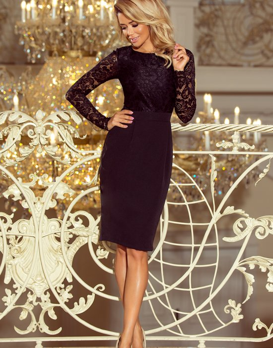 Черна рокля с дантела 216-2, Numoco, Миди рокли - Modavel.com