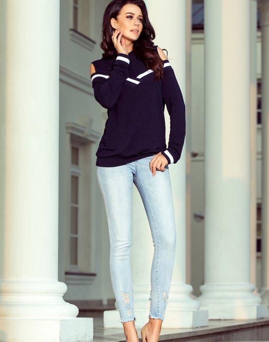 Дамска блуза с дълъг ръкав в тъмносиньо 223-1, Numoco, Блузи / Топове - Modavel.com