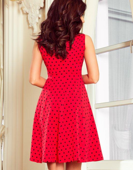Ежедневна червена рокля на точки 238-1, Numoco, Миди рокли - Modavel.com