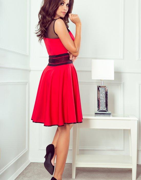 Елегантна червена рокля 261-1, Numoco, Миди рокли - Modavel.com