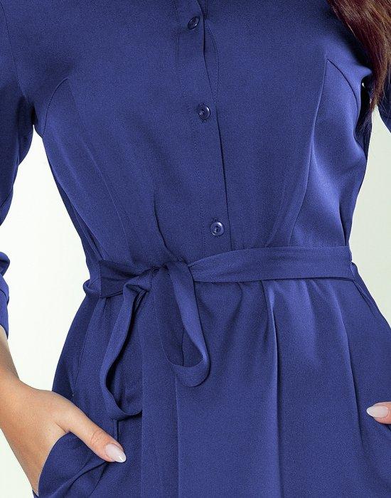Елегантна рокля в син цвят 286-2, Numoco, Миди рокли - Modavel.com