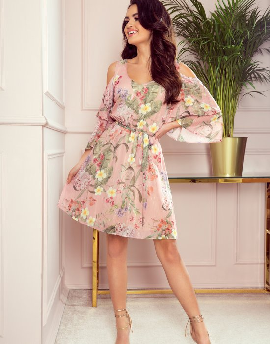 Ефирна розова рокля на цветя 292-1