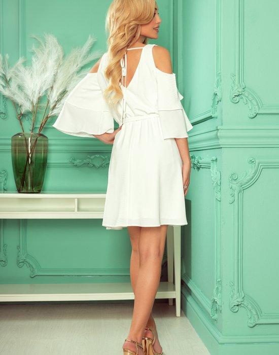 Ефирна рокля в цвят екрю 292-4