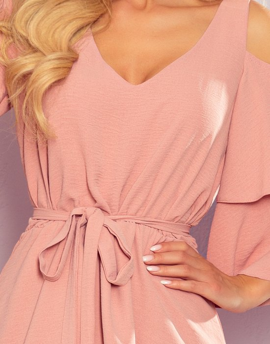 Ефирна рокля в цвят пудра 292-5