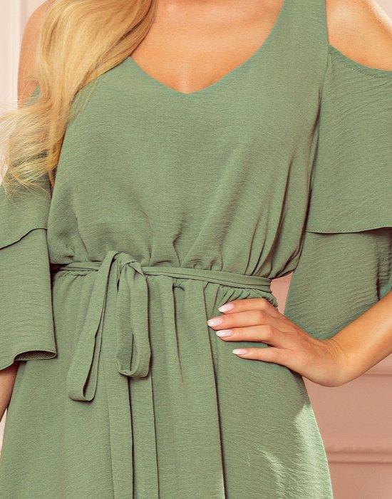 Ефирна рокля в цвят каки 292-6