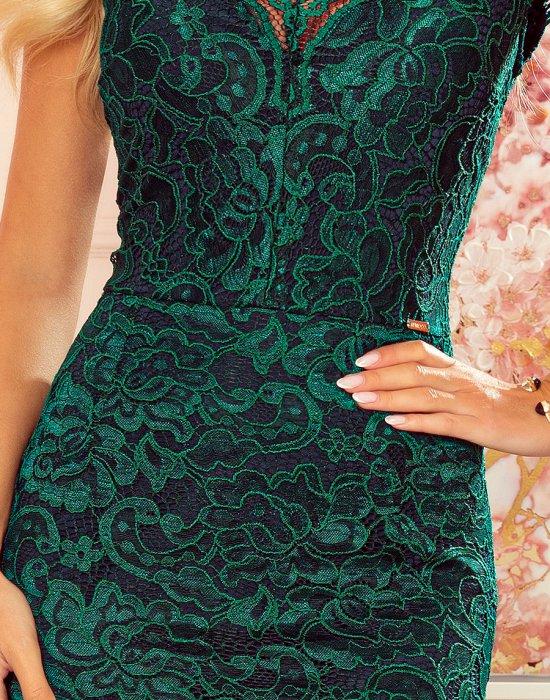 Дантелена рокля в зелен цвят 316-3