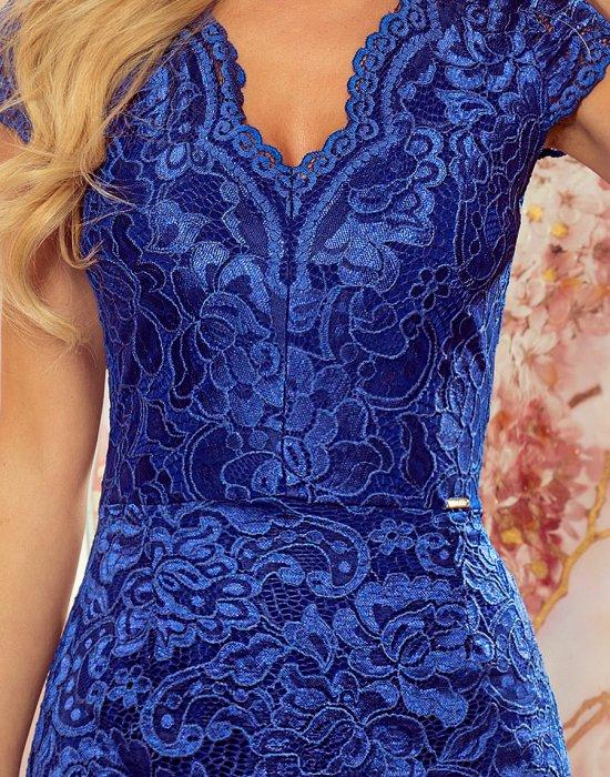 Дантелена рокля в син цвят 316-4