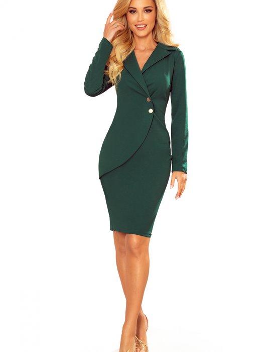Елегантна рокля в зелен цвят 340-1, Numoco, Миди рокли - Modavel.com