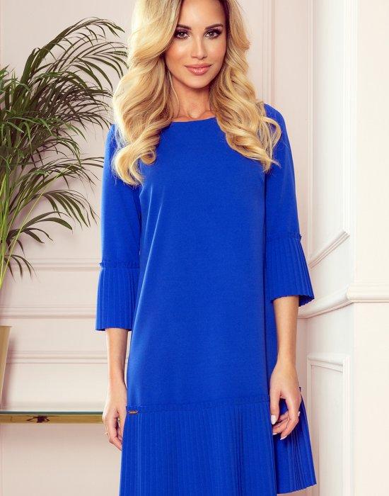 Елегантна рокля в син цвят 228-8, Numoco, Миди рокли - Modavel.com
