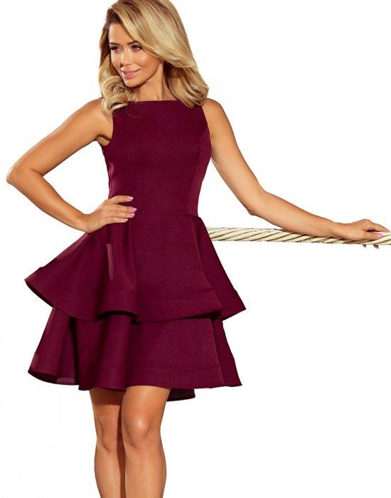 Официална къса рокля в цвят бордо 169-7, Numoco, Къси рокли - Modavel.com