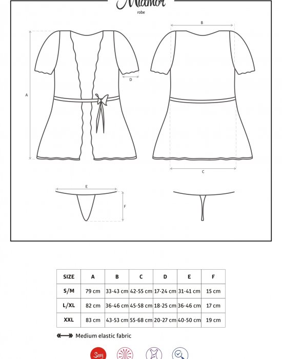 Елегантен дамски халат Miamor в черен цвят, Obsessive, Комплекти - Modavel.com