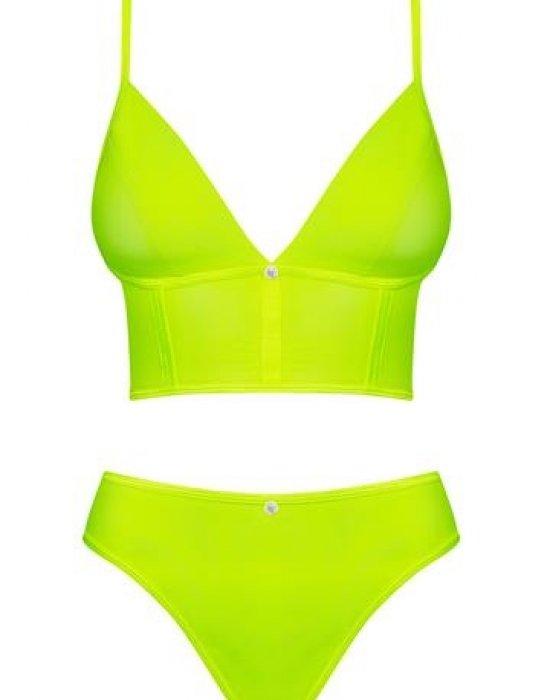 Секси комплект в жълто-зелен неон Neonia, Obsessive, Комплекти - Modavel.com