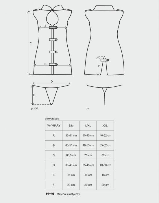 Секси костюм от три части в сив цвят Stewardess, Obsessive, Костюми - Modavel.com