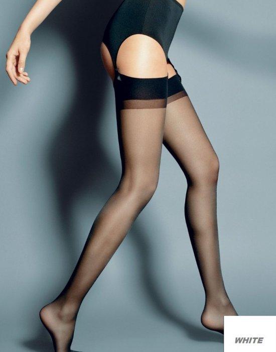 Дамски дълги чорапи в бял цвят Calze Bianco 15 DEN, Veneziana, Чорапи - Modavel.com