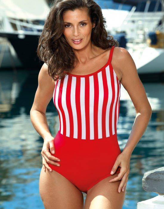 Цял бански костюм в червен и бял цвят Venere M-624-1