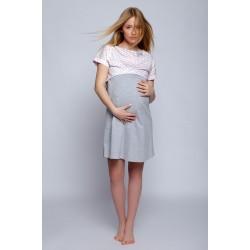 Сиво-розова нощница за бременни жени и кърмачки Lili